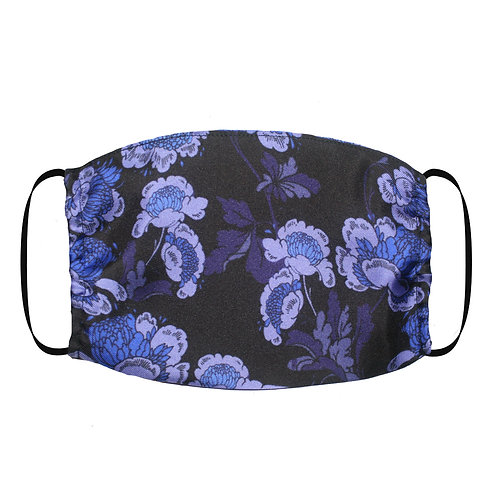 Adjustable Silk Face Mask (Non-Medical) - Oriental Floral Navy