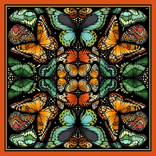 The Tropical Butterfly Silk Scarf - Burnt Orange - Large