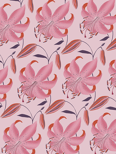 Antique Lily Wrapping Paper - Cherry Blossom