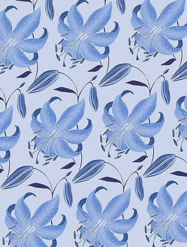 Antique Lily Wrapping Paper - Sky Blue