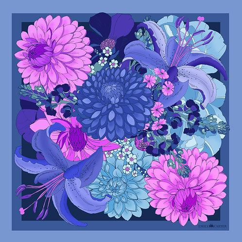 The Dahlia Bouquet Neckerchief - Indigo