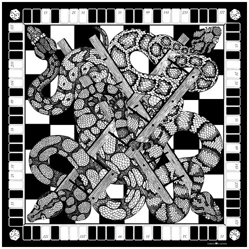 The Snakes & Ladders Silk Scarf