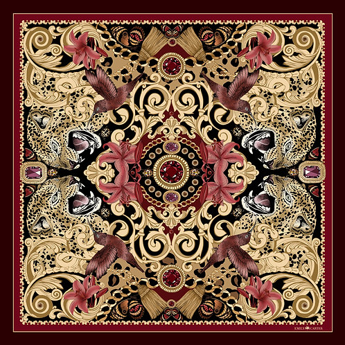 The Leopard & Ruby Silk Scarf - Limited Edition
