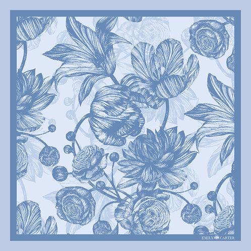 The Tulip & Peony Pocket Square - Blue