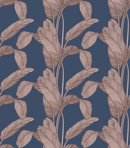 Palm Leaf Print - Navy