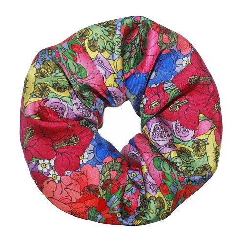 Upcycled Silk Hair Scrunchie - Flower Garden