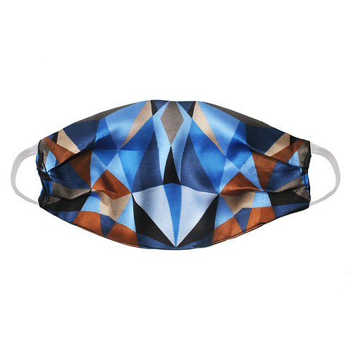 Upcycled Silk Face Mask (Non-Medical) - Blue Abstract