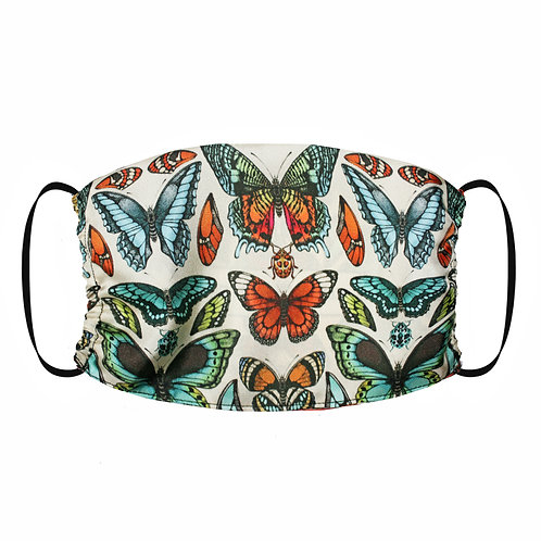 Adjustable Silk Face Mask (Non-Medical) - Tropical Butterfly Green