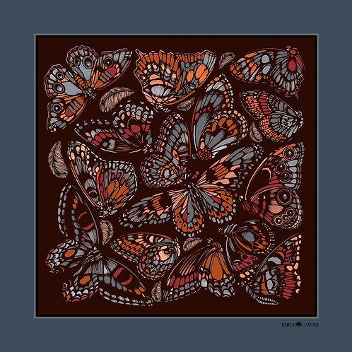 The Tropical Butterfly Pocket Square - Terracotta