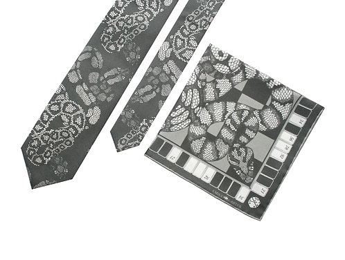 The Python Tie & Pocket Square Charcoal - Gift Set