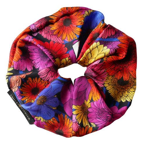 Upcycled Silk Hair Scrunchie - Dahlia Garden