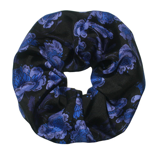 Upcycled Silk Hair Scrunchie - Oriental Floral Navy