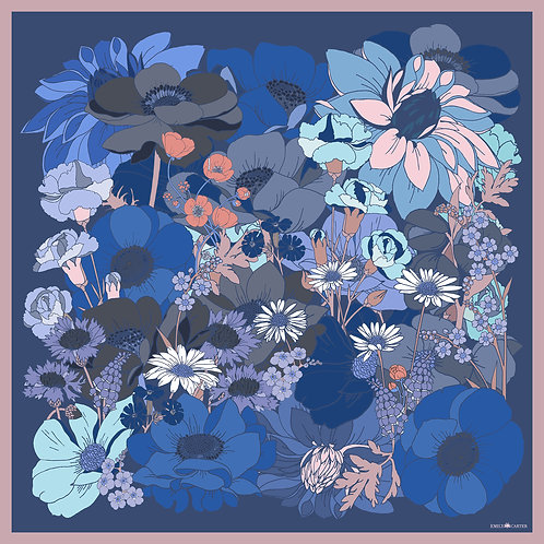 The English Garden Silk Scarf - Cornflower