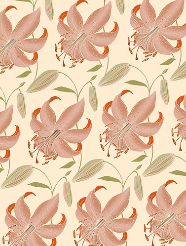 Antique Lily Wrapping Paper - Cream