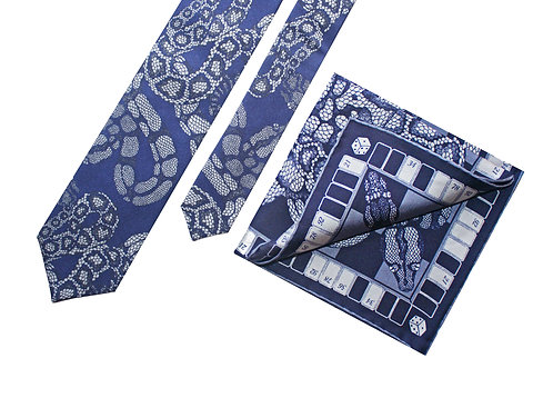 The Python Tie & Pocket Square Navy - Gift Set