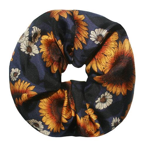 Upcycled Silk Hair Scrunchie - Sunflower
