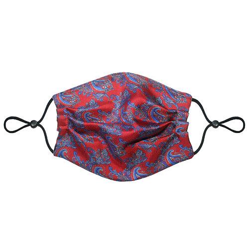 3 Layer Travel Silk Face Mask (Non-Medical) - Paisley Burgundy