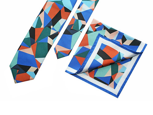 The SpectrumTie and Pocket Square Blue - Gift Set