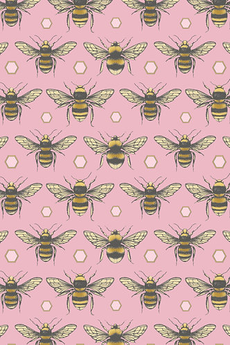 British Bees Wrapping Paper - Pink