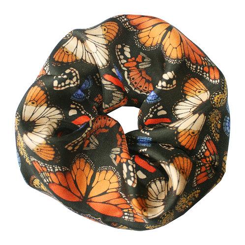 Upcycled Silk Hair Scrunchie - British Butterfly