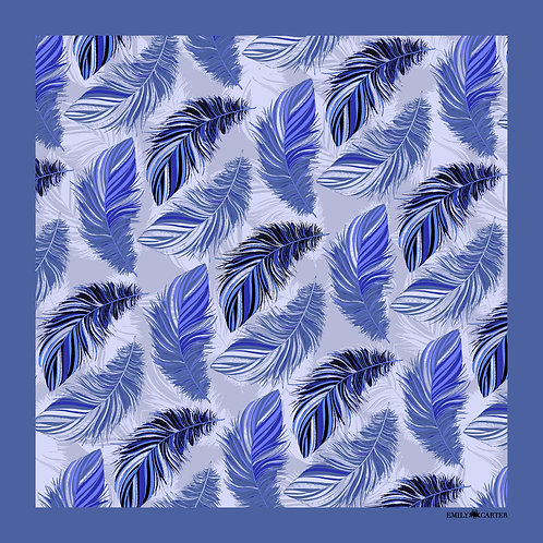 The Feather Pocket Square - Cobalt