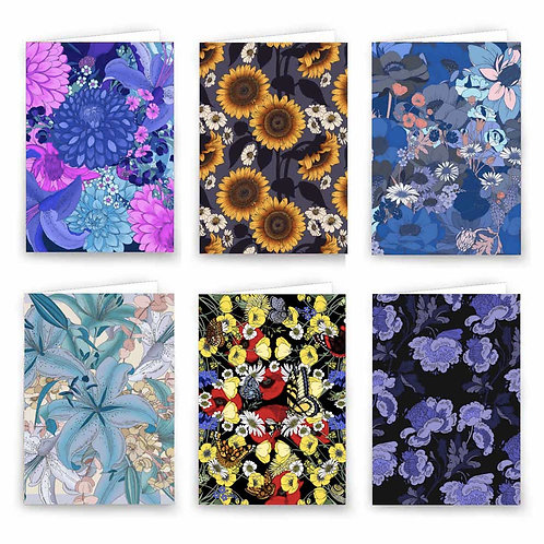Luxury Greeting Cards  X6 - Navy Florals