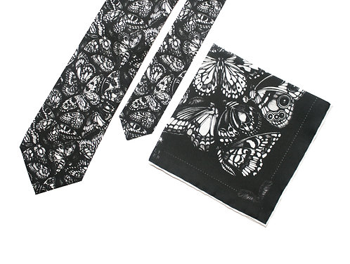 The Tropical Butterfly Pocket Square & Tie - Gift Set