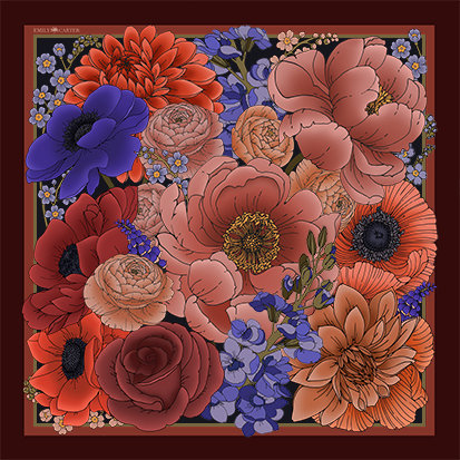 The Winter Floral Silk Scarf