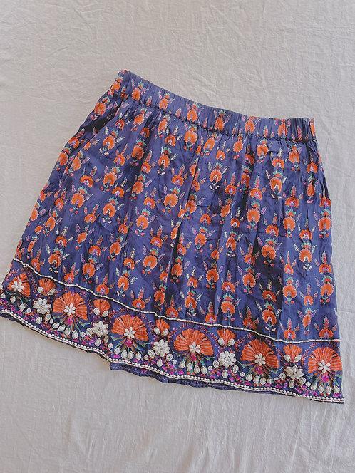 Modern Beaded Navy Print Skirt  (L)