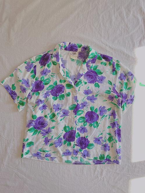 Vintage Watercolour Floral Blouse (S)