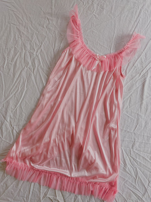 Vintage Pink Frilly Negligee (S)
