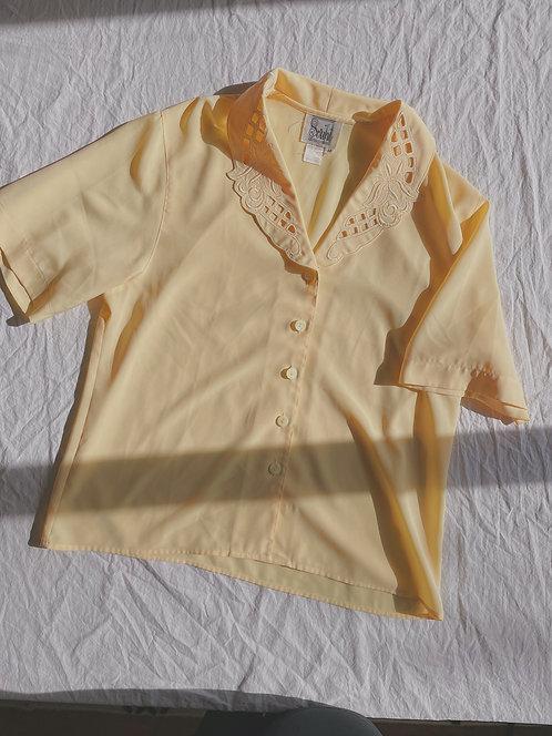 Vintage Yellow Lattice Collar Button-Up (M)
