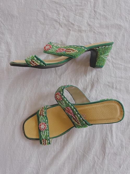 Vintage Green Beaded Sandals (7.5)