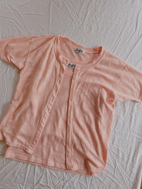 Vintage Pink Shirt & Cardigan Set (M/L)