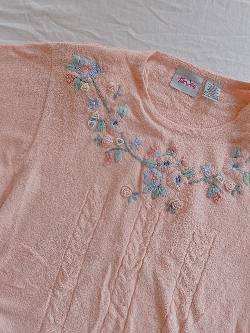 Vintage Embroidered Pink Sweater (XL)