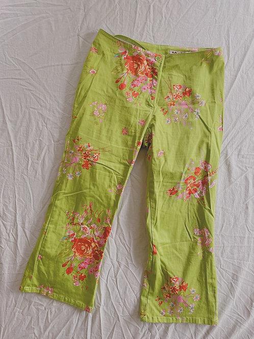 90's Green Floral Capris (10/M)