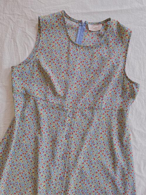 Vintage Floral Maxi Dress (L)