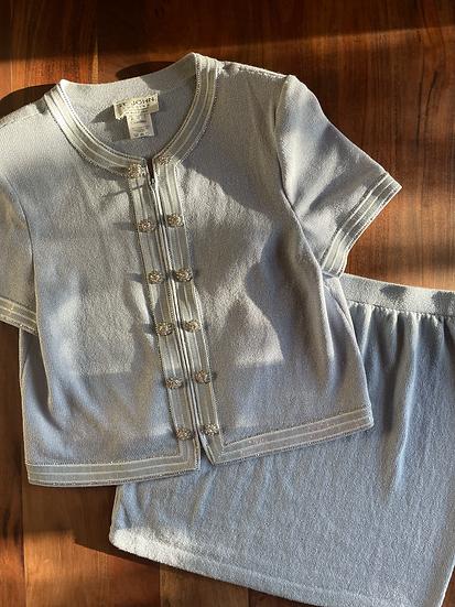 Vintage Blue Crystal Skirt Set (M-XL)