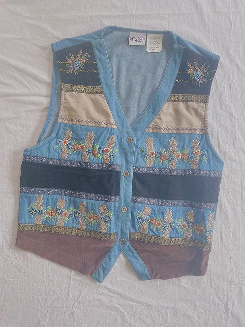 Vintage Embroidered Jean Vest (L)