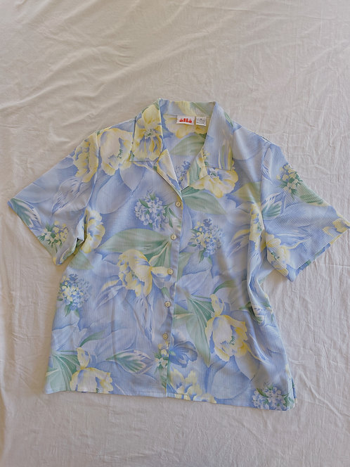 Vintage Blue & Yellow Floral Button-Up (XL)