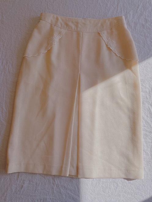 Vintage Cream Pocket Detail Skirt (S)