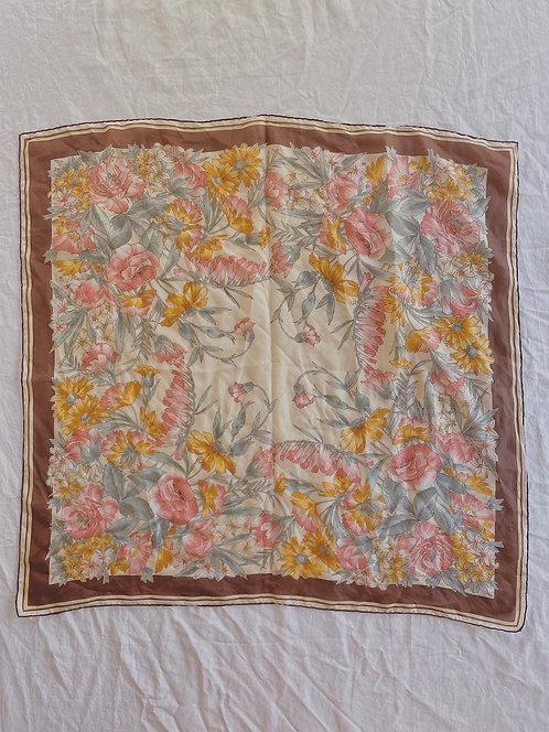 Vintage Brown Floral Scarf