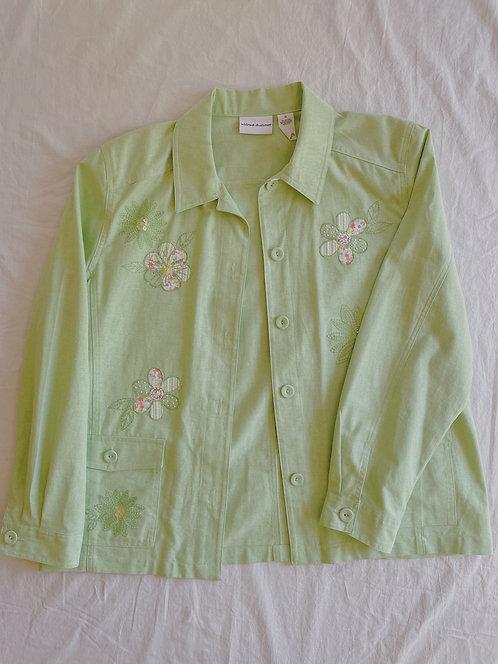 Vintage Spring Green Floral Jacket (XL)
