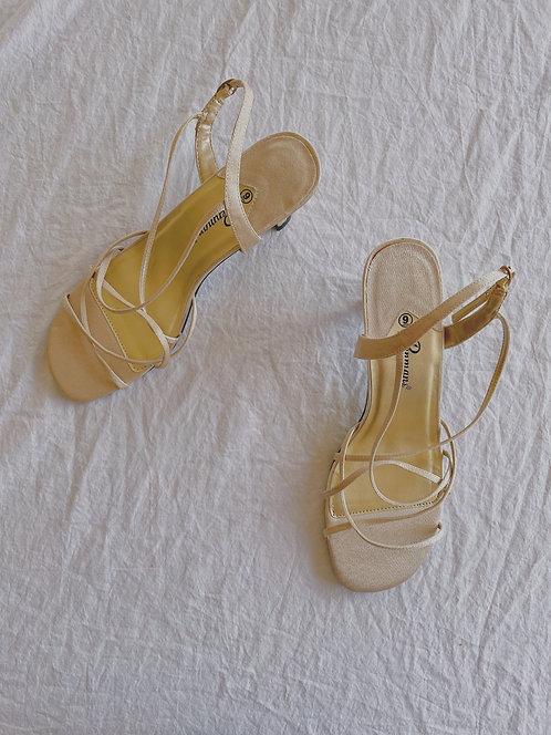 Vintage Gold Strappy Kitten Heels (9)