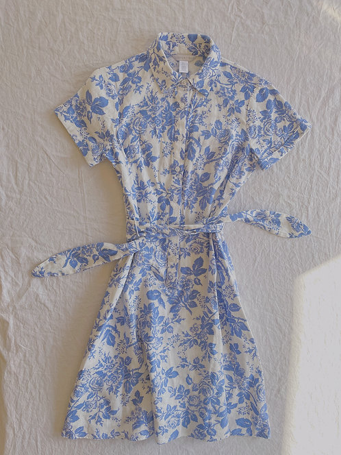 Modern Blue & White Floral Dress (XS)
