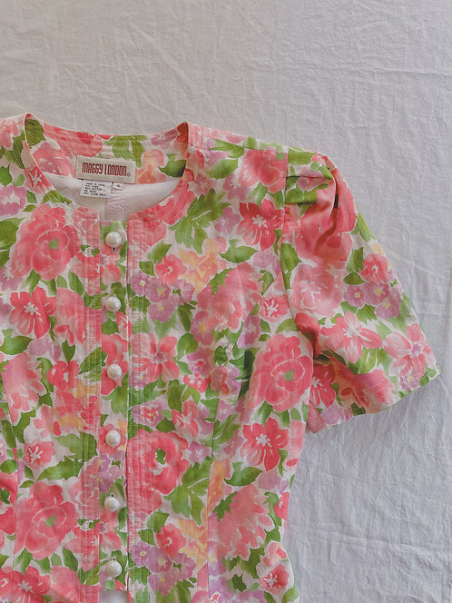 Vintage Pink Floral Pearl Button-Up (M)