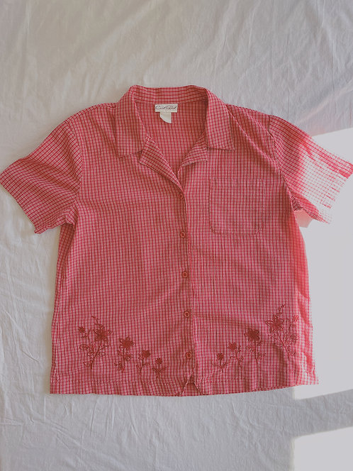 Vintage Embroidered Gingham Button-Up (XL)