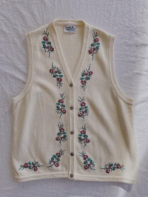 Vintage Pansy Embroidered Vest (XL)