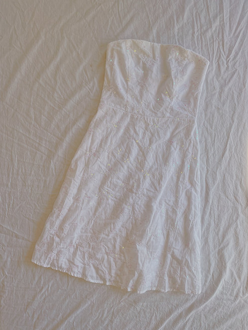 Modern White Strapless Sparkly Dress (M)