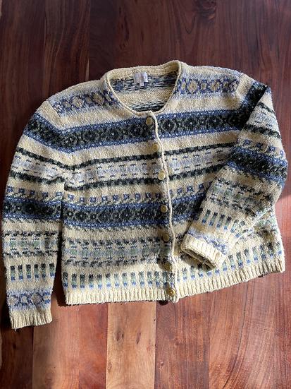 Vintage Yellow Knit Cardigan (XL)